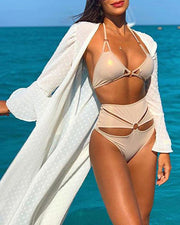 Dot Jacquard Beach Cover-Up