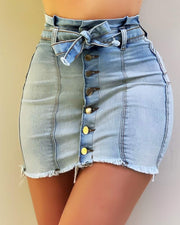Button Design Fringe Hem Denim Skirt