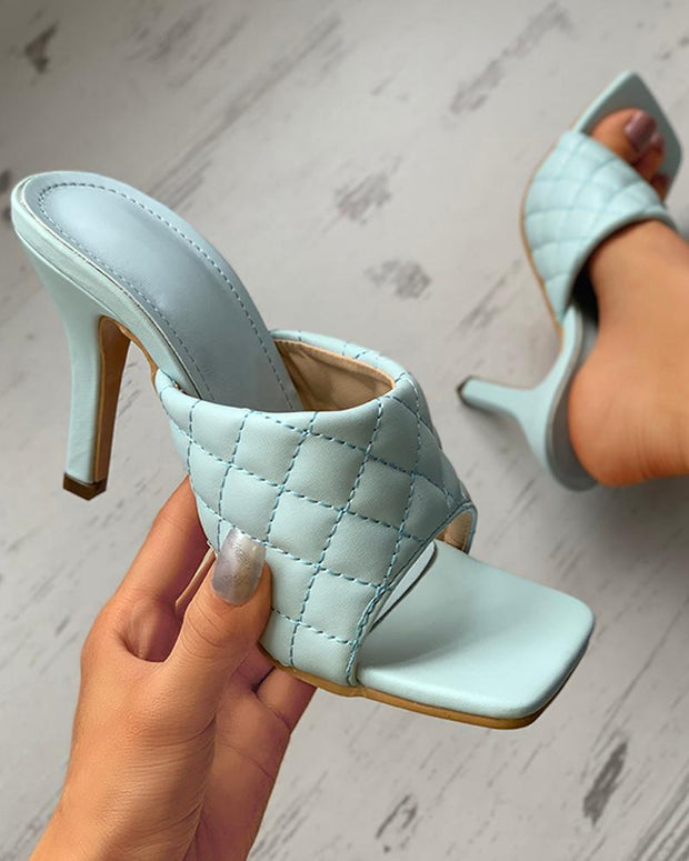 Quilted Thin High Heel Square Toe Sandals