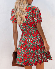 Floral Print Short Sleeve Mini Dress
