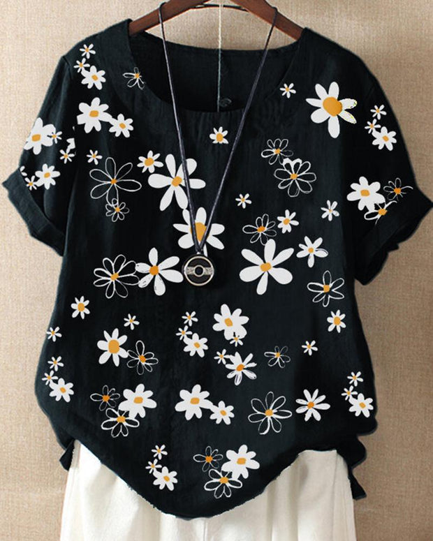 Daisy Print Short Sleeve Top