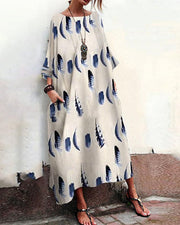 Feather Print Long Sleeve Maxi Dress