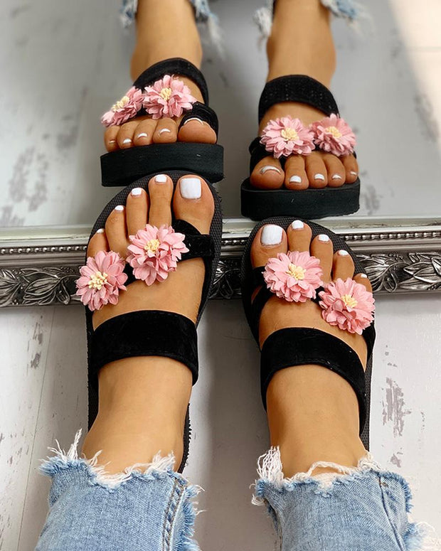 Flower Embellished Toe Ring Casual Sandals
