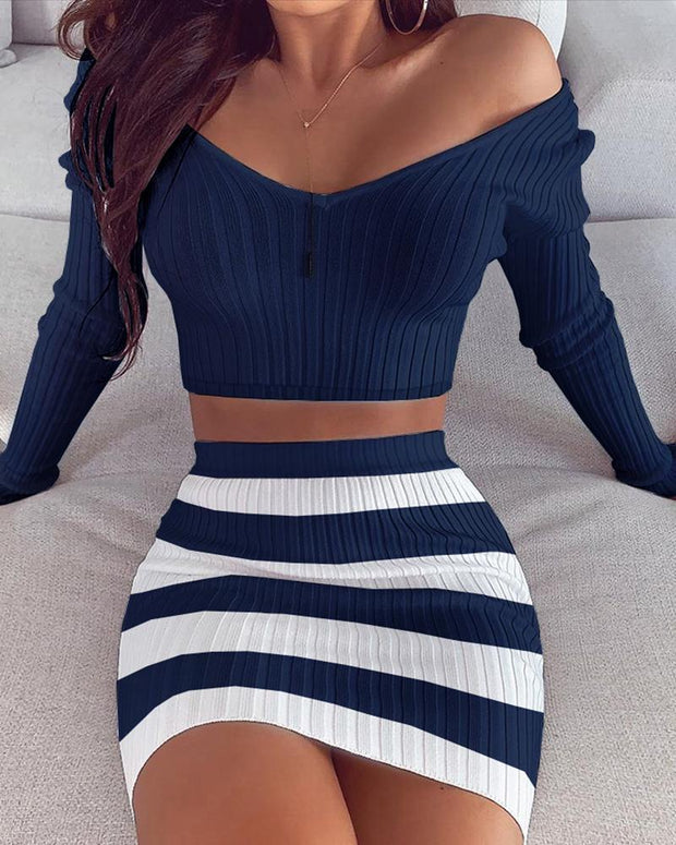 Striped Long Sleeve Crop Top & Skirt Sets