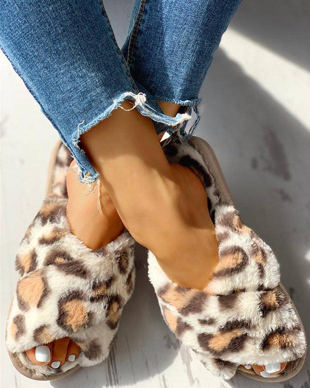 Fluffy Leopard Crisscross Flat Slippers