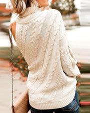One Shoulder Embroidered Neck Sweater