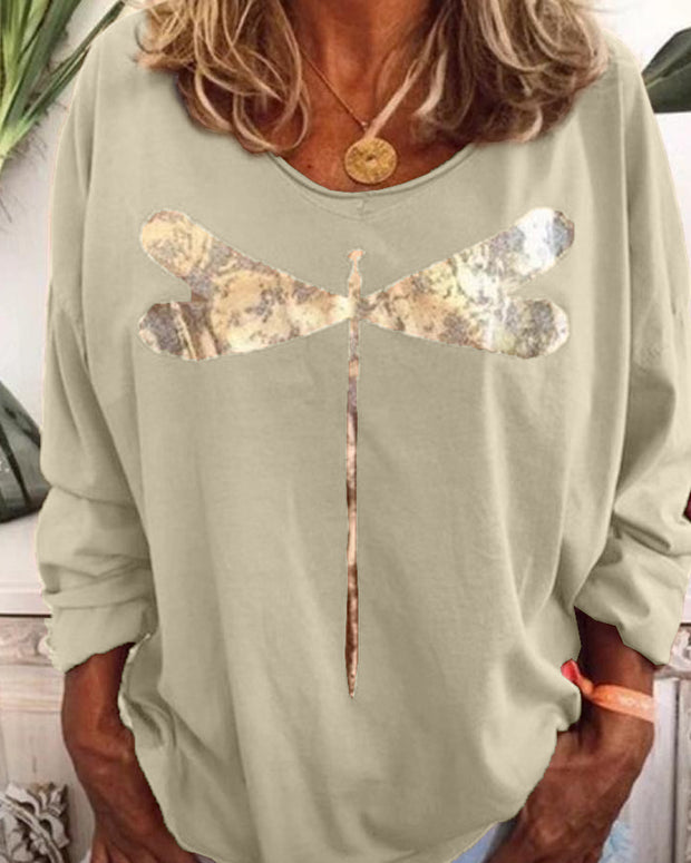 Sequin Dragonfly Long Sleeve Top