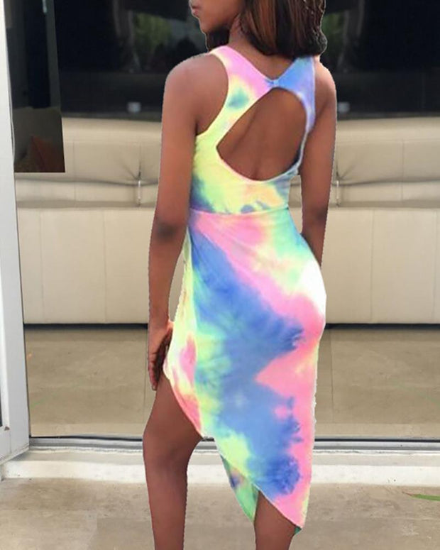 Tie Dye Cut Out Backless Irregular Slit Dress