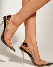 Solid Pointed-toe High Heel Sandals