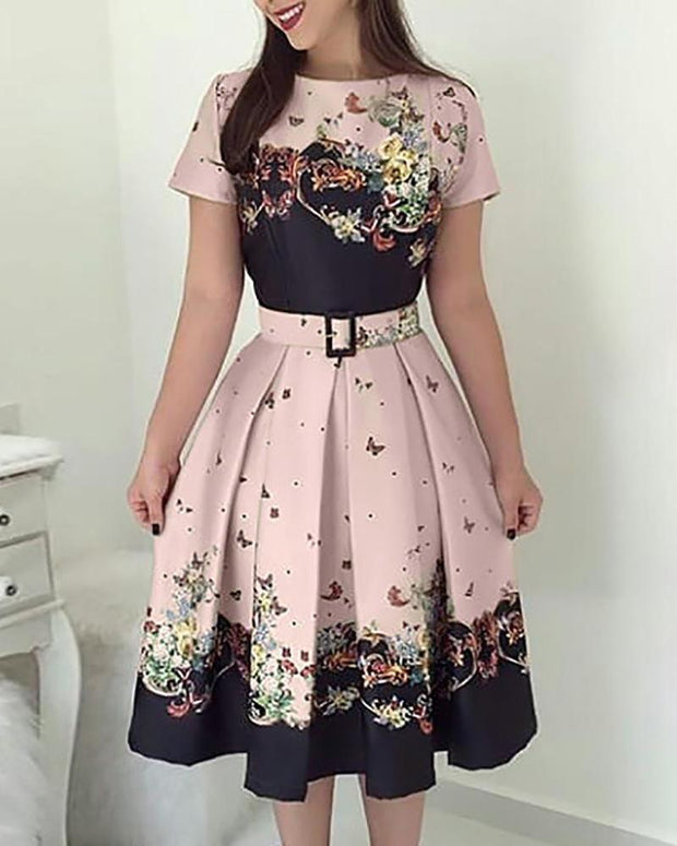 Butterfly Print Short Sleeve Belted Pleated Dress
