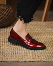 Metallic Buckle Round-toe Flat Loafers Slip-on