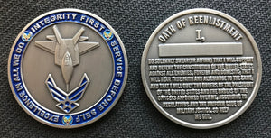 Air Force Reenlistment Coin 1.75""