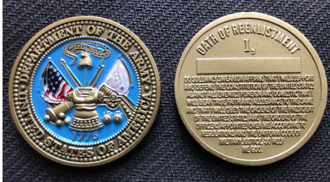 Army Reenlistment Coin 1.5