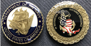 Navy BlueJacket Of The Year Challenge Coin 1.5""