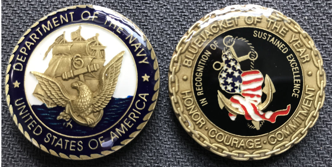 Navy BlueJacket Of The Year Challenge Coin 1.5