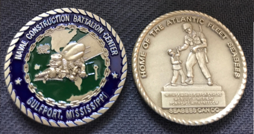 Naval Construction Battalion Center Gulfport Seabee Coin 1.5