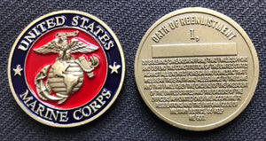 Marine Corps Oath Of Reenlistment Challenge Coin 1.5""