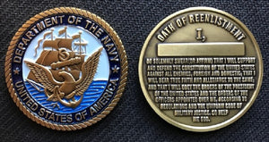 Navy Reenlistment Coin 1.75""