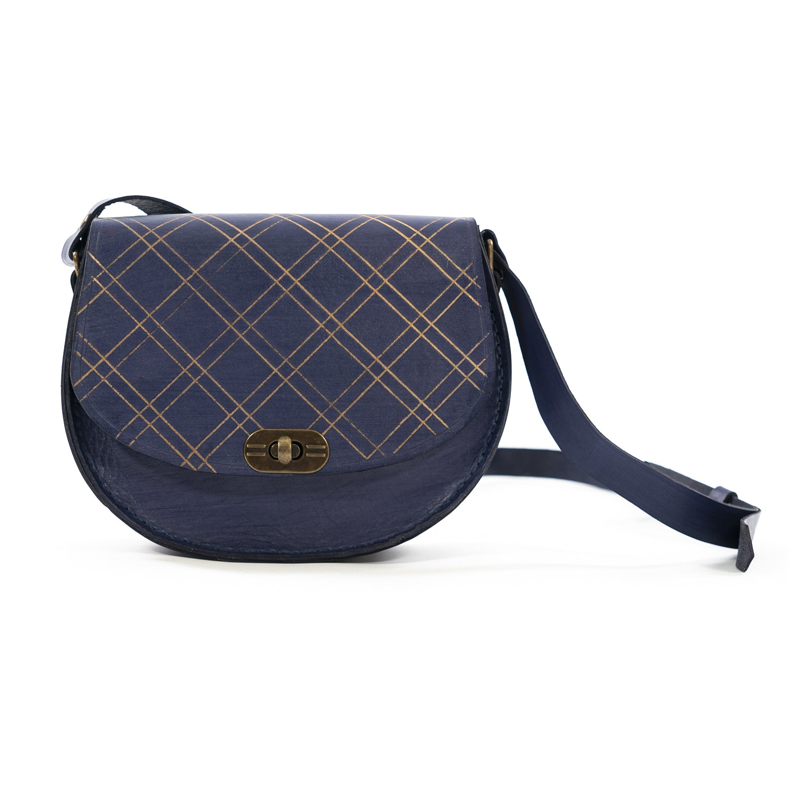 Derifix Joya Navy Blue Handmade Women's Leather Bag