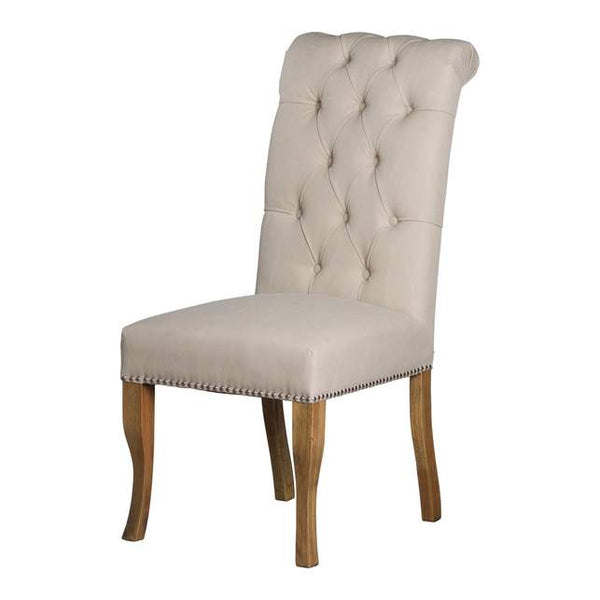 Hattie Roll Top Back Ring Cream Dining Chair-I Love Retro