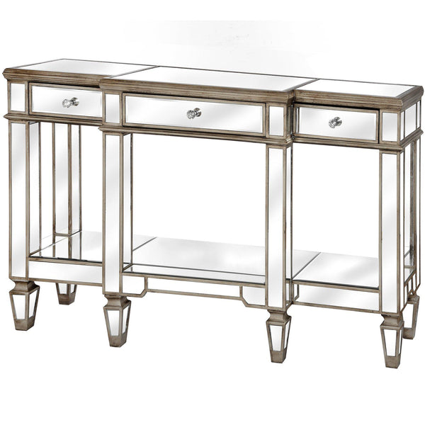 Altinum Venetian Mirrored Three Drawer Console Table-I Love Retro