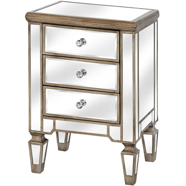 Altinum Venetian Mirrored Three Drawer Bedside Cabinet-I Love Retro