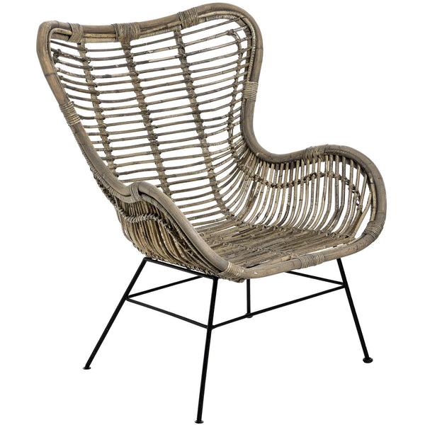 Coral Rattan Wing Armchair-I Love Retro