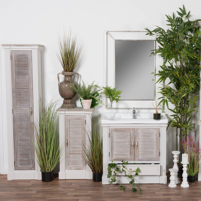 Odette Tall Slim Louvered Door Cabinet-I Love Retro
