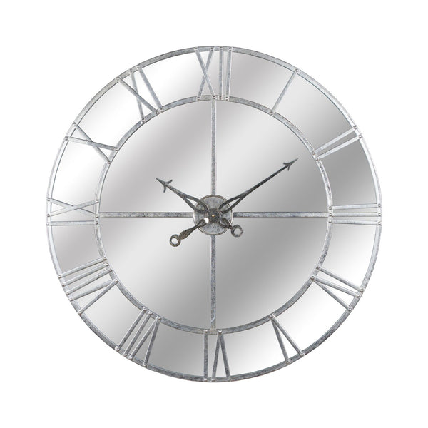 Driana Large Round Silver Foil Mirrored Wall Clock-I Love Retro