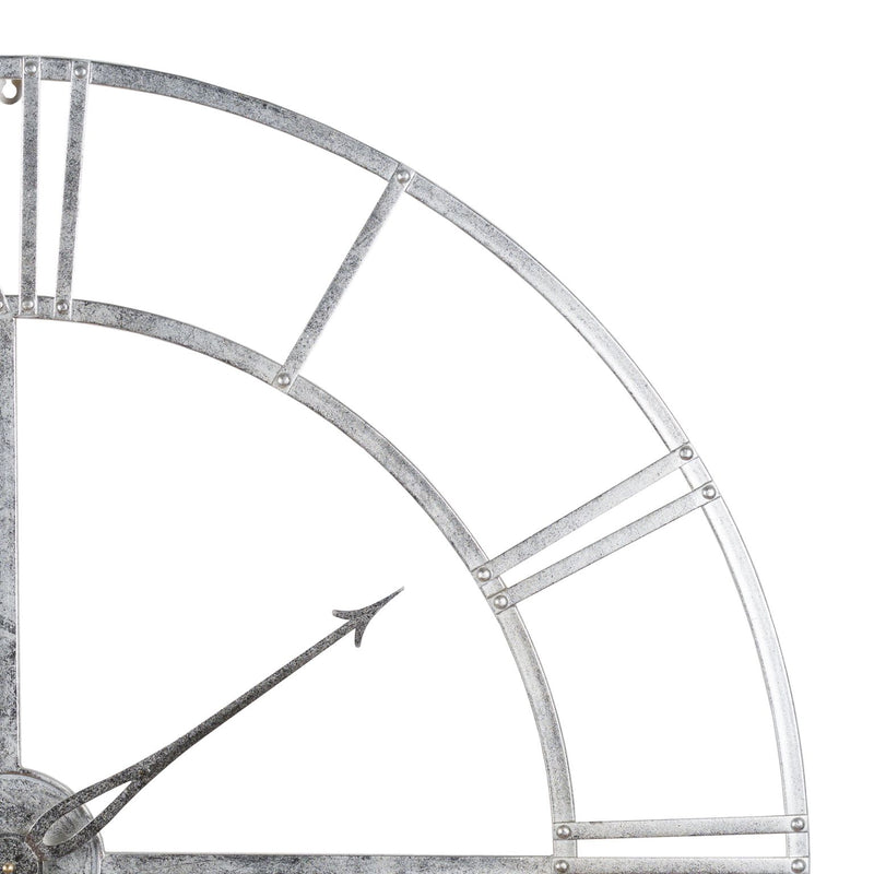 Cicero Large Round Silver Foil Skeleton Wall Clock-I Love Retro