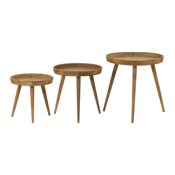Helena Three Round Wooden Tables-I Love Retro