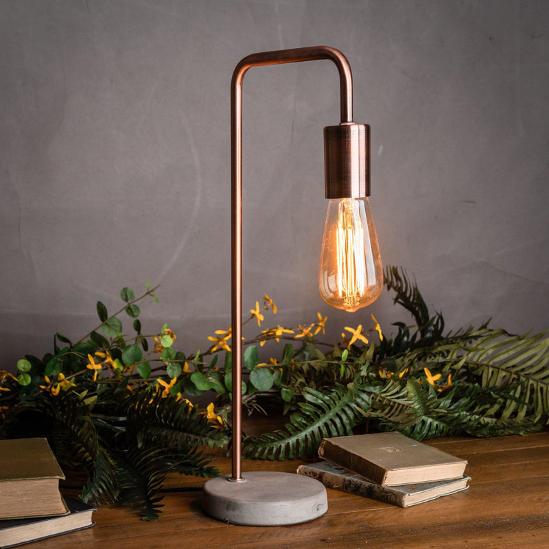 Alek Copper Lamp with Stone Base-I Love Retro
