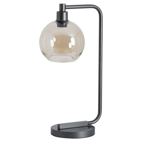 Nupter Smoked Glass Globe Table Lamp-I Love Retro