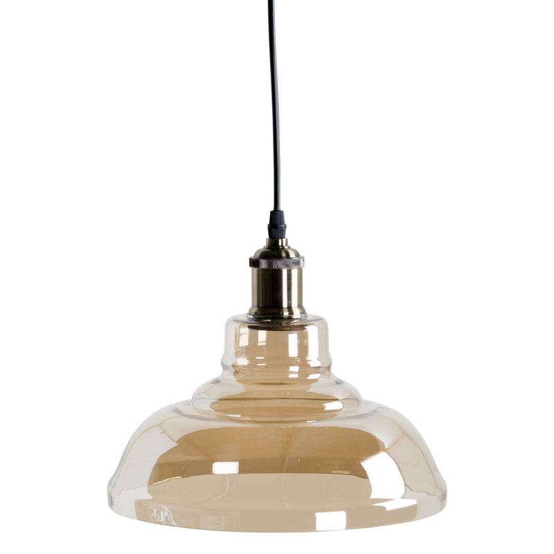 Factrum Smoked Glass Dish Pendant Ceiling Light-I Love Retro