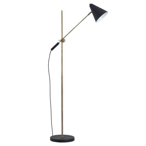 Nikol Black & Brass Adjustable Floor Lamp-I Love Retro