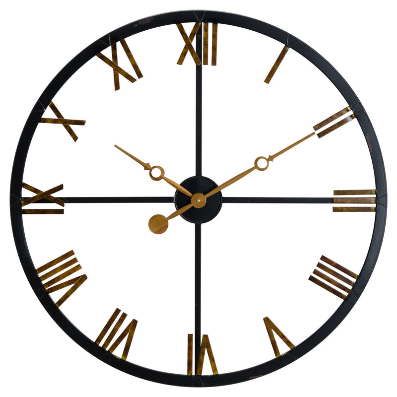 Station Black and Gold Skeleton Wall Clock-I Love Retro