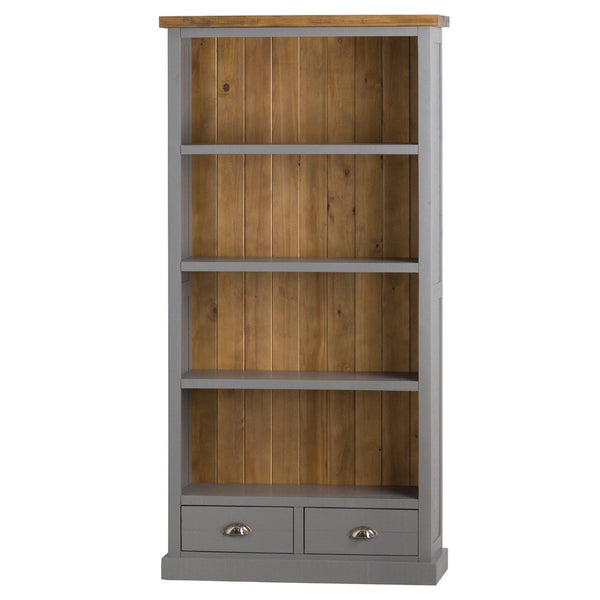 Julia Grey Tall Two Drawer Bookcase-I Love Retro