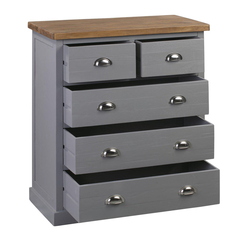 Julia Grey Five Drawer Chest-I Love Retro