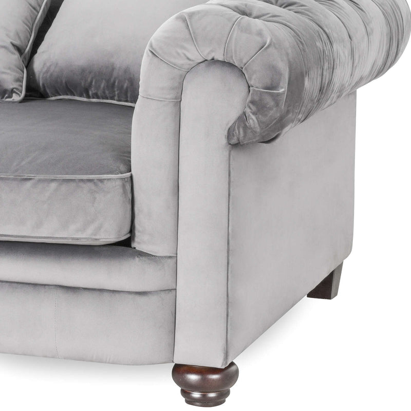 Casanda Grey Velvet Chesterfield Sofa-I Love Retro