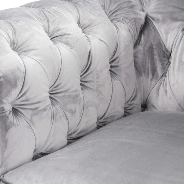 Casanda Grey Velvet Chesterfield Snuggle Chair-I Love Retro