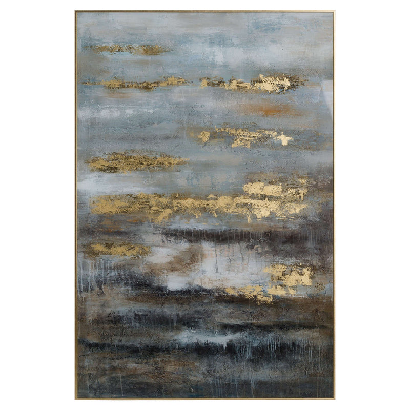 Trident Large Abstract Industrial Print Gold Framed-I Love Retro