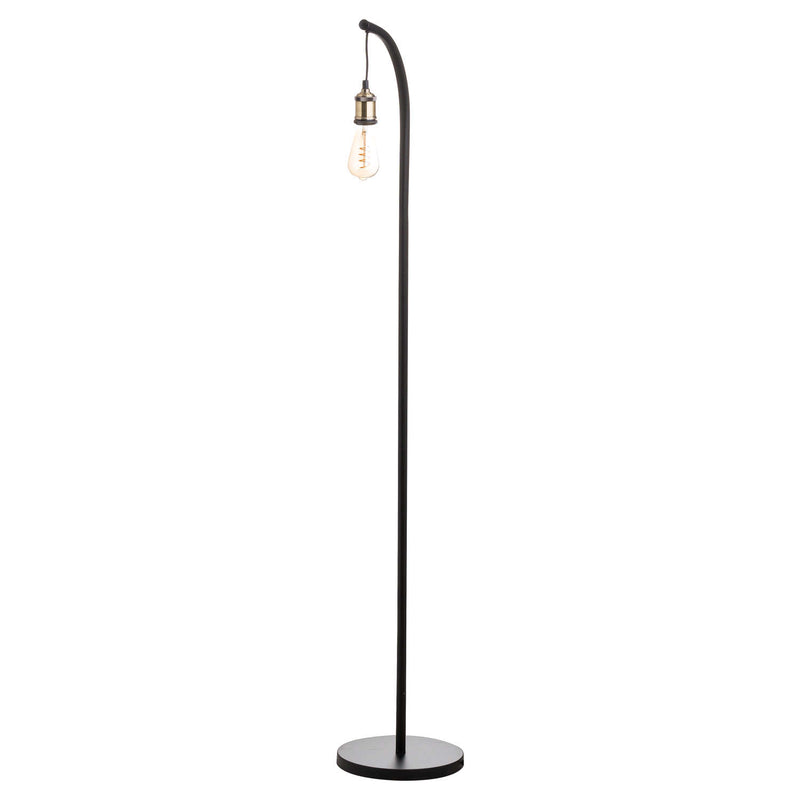 Inga Industrial Black Brass Floor Lamp-I Love Retro
