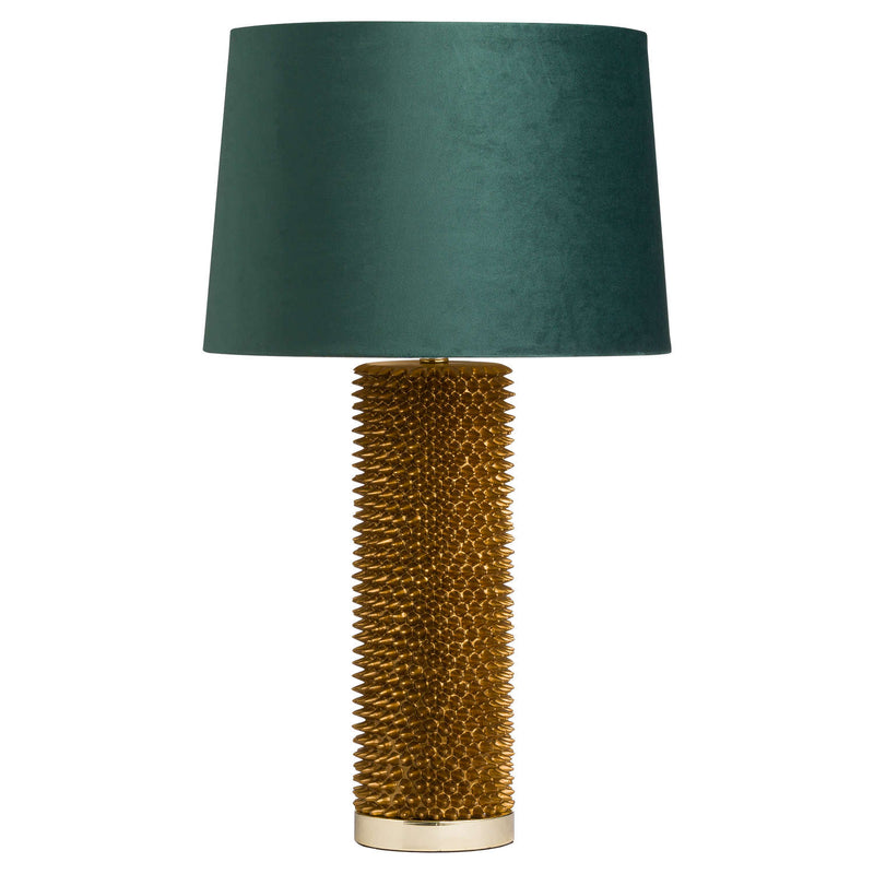 Milano Gold Prickly Lamp Emerald Velvet Shade-I Love Retro