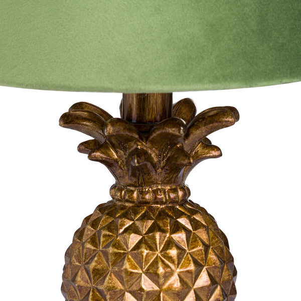 Milano Gold Mini Pineapple Lamp Mint Velvet Shade-I Love Retro