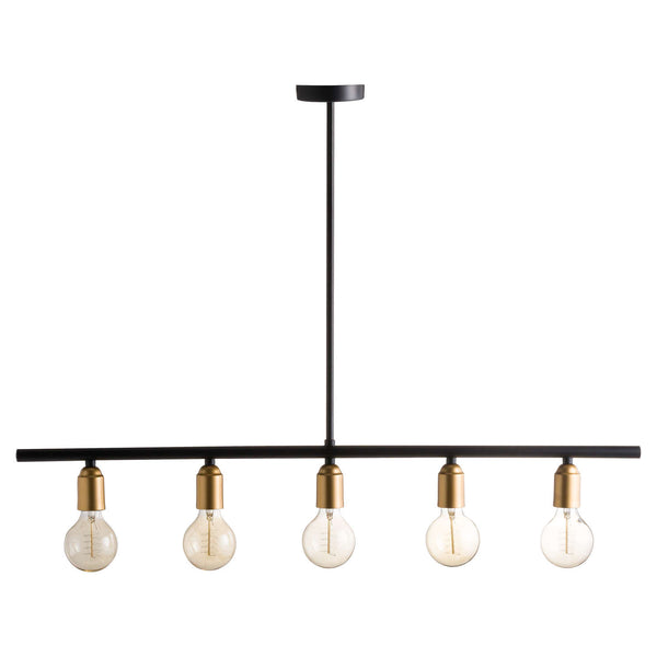 Romero Black Brass Five Bulb Bar Ceiling Light-I Love Retro