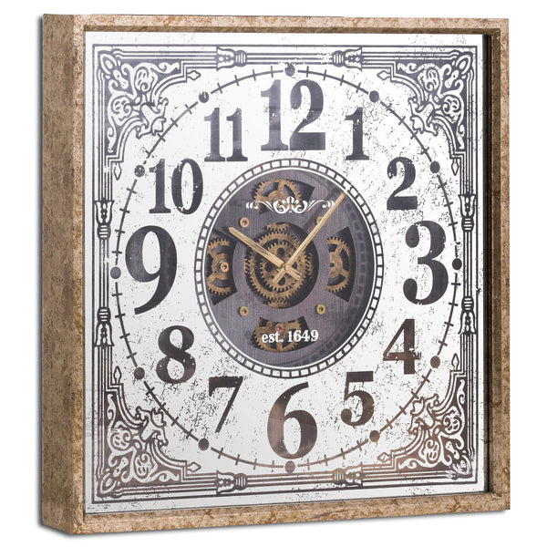 Jack Bold Exposed Mechanism Square Wall Clock-I Love Retro