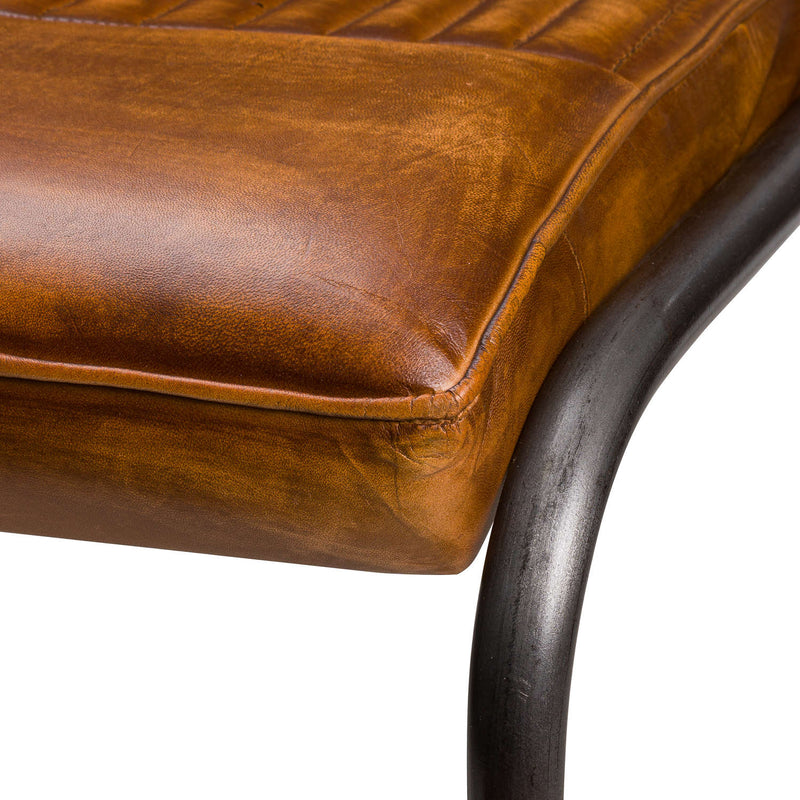 Roddo Leather Ribbed Dining Chair-I Love Retro