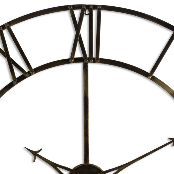 Lera Large Round Antique Brass Skeleton Wall Clock-I Love Retro