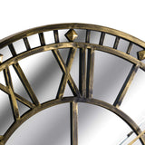 Lera Large Mirrored Antique Brass Skeleton Wall Clock-I Love Retro
