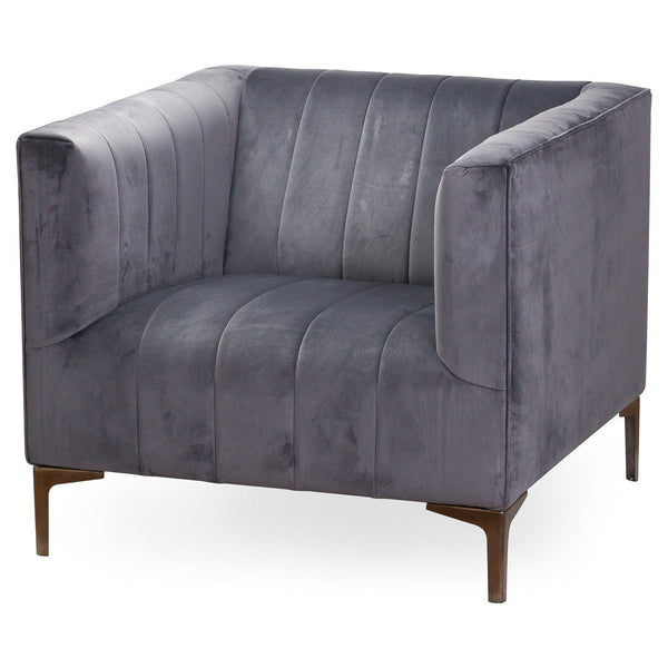 Leda Grey Velvet Tub Armchair-I Love Retro